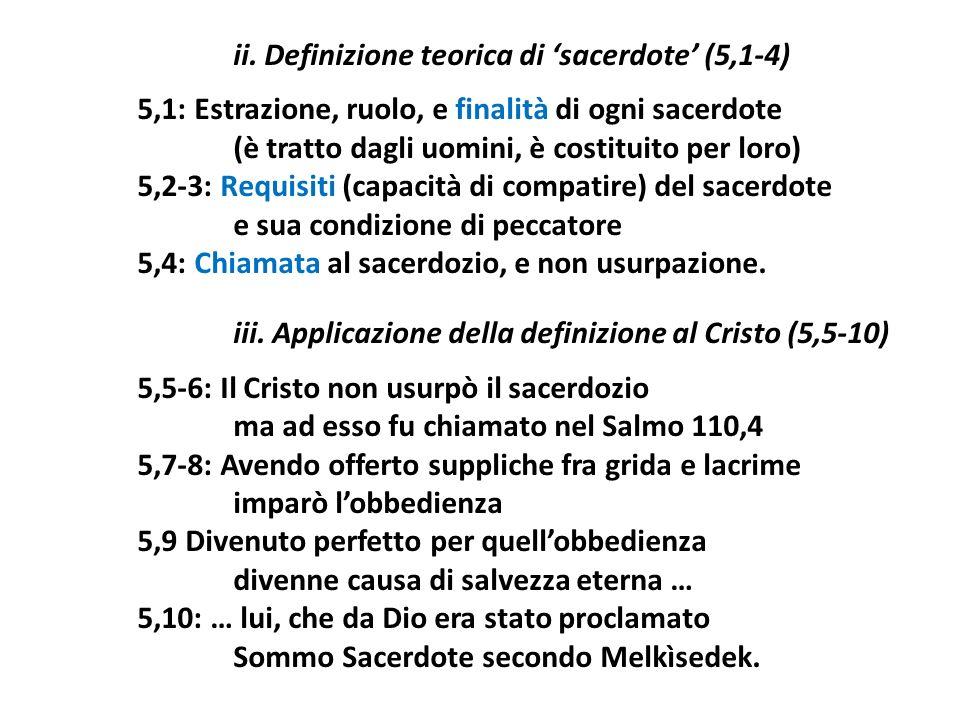 ii. Definizione teorica di 'sacerdote' (5,1-4)