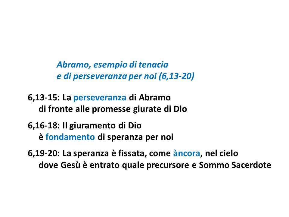 e di perseveranza per noi (6,13-20) 6,13-15: La perseveranza di Abramo