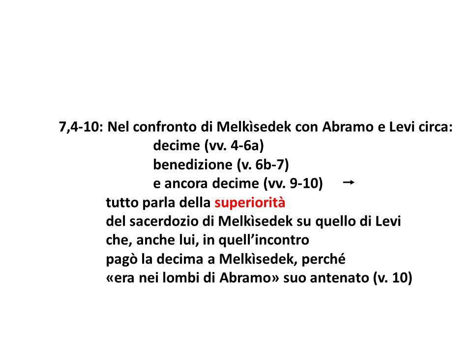 7,4-10: Nel confronto di Melkìsedek con Abramo e Levi circa: