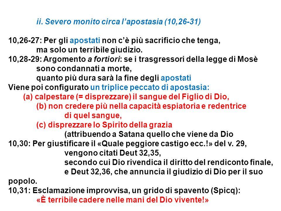 ii. Severo monito circa l'apostasia (10,26-31)
