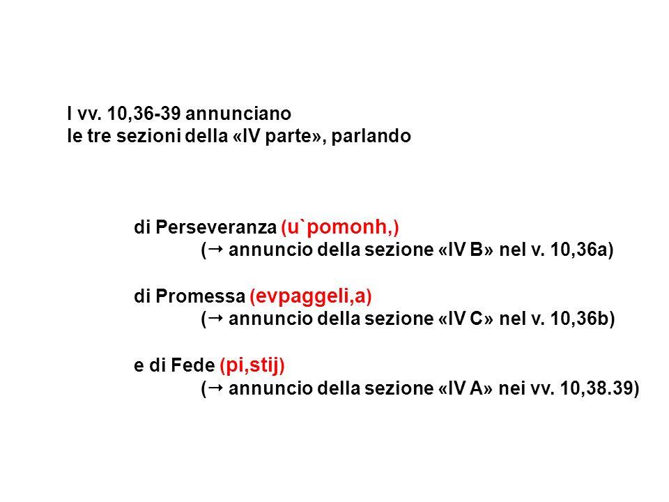 I vv. 10,36-39 annuncianole tre sezioni della «IV parte», parlando. di Perseveranza (u`pomonh,) ( annuncio della sezione «IV B» nel v. 10,36a)