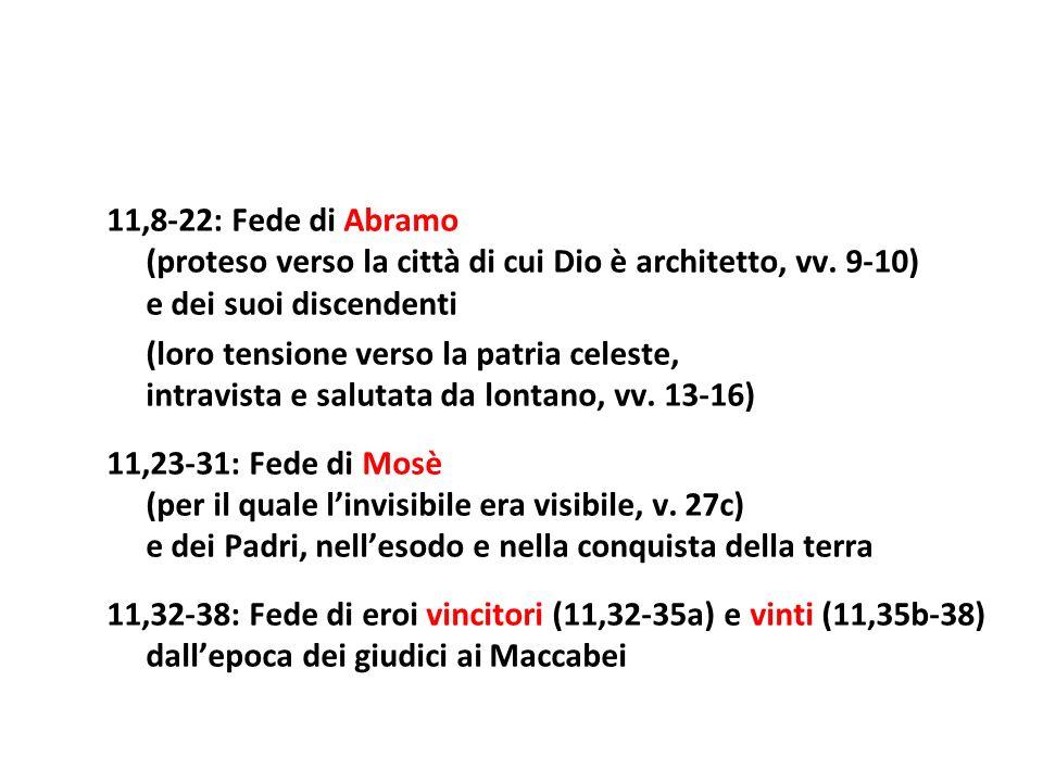 11,8-22: Fede di Abramo(proteso verso la città di cui Dio è architetto, vv. 9-10) e dei suoi discendenti.