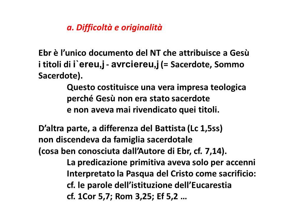 Ebr è l'unico documento del NT che attribuisce a Gesù