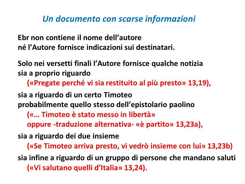Un documento con scarse informazioni