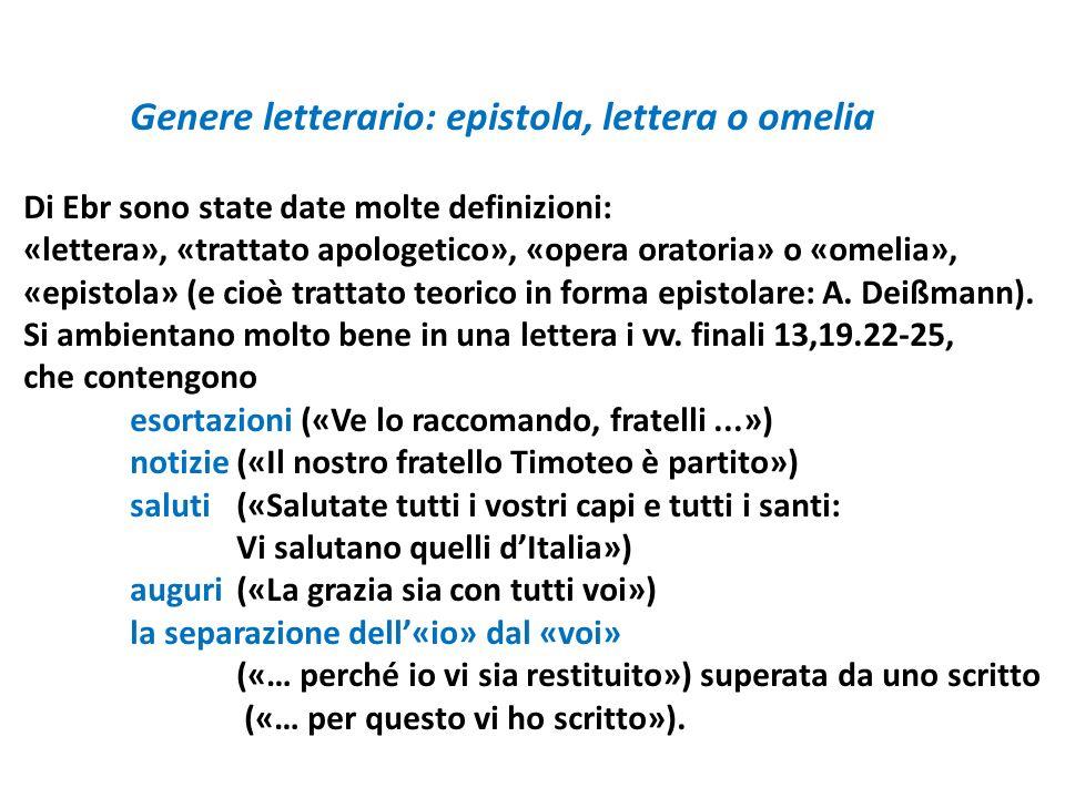 Genere letterario: epistola, lettera o omelia