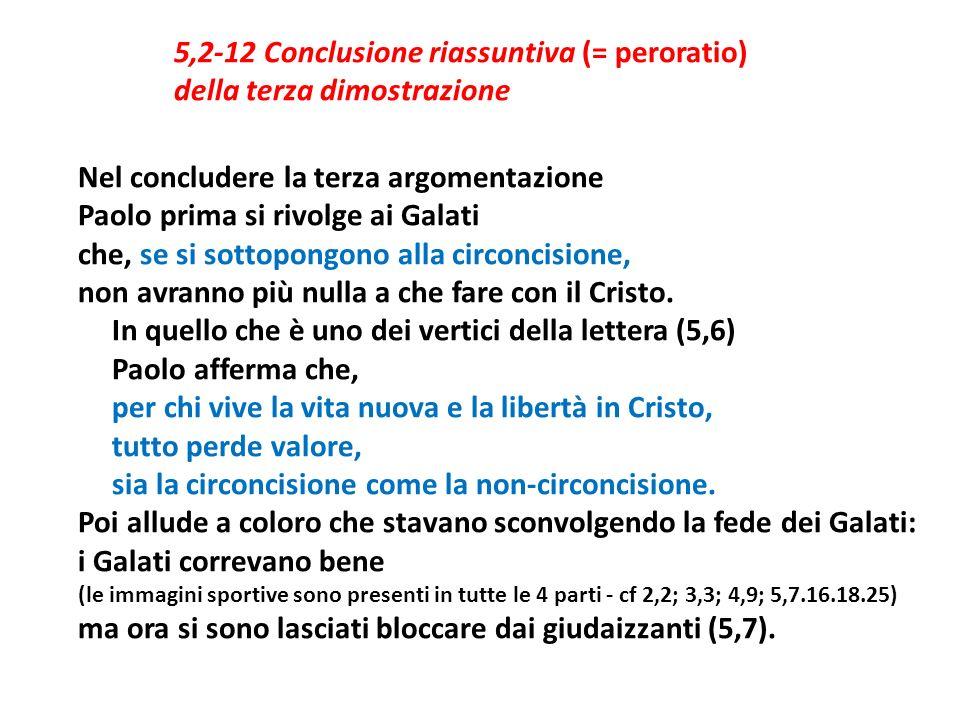5,2-12 Conclusione riassuntiva (= peroratio) della terza dimostrazione