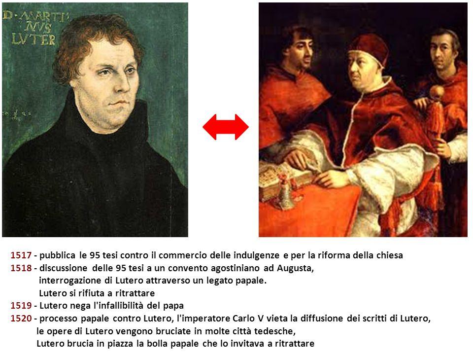 1517 - pubblica le 95 tesi contro il commercio delle indulgenze e per la riforma della chiesa