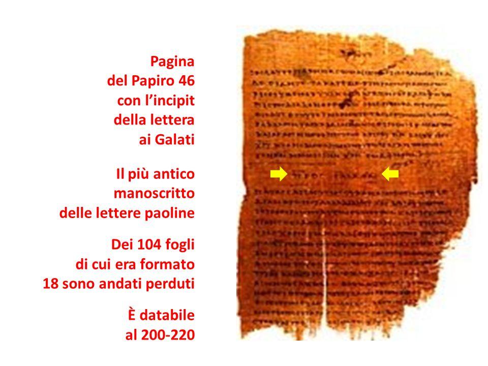 Pagina del Papiro 46. con l'incipit. della lettera. ai Galati. Il più antico. manoscritto. delle lettere paoline.