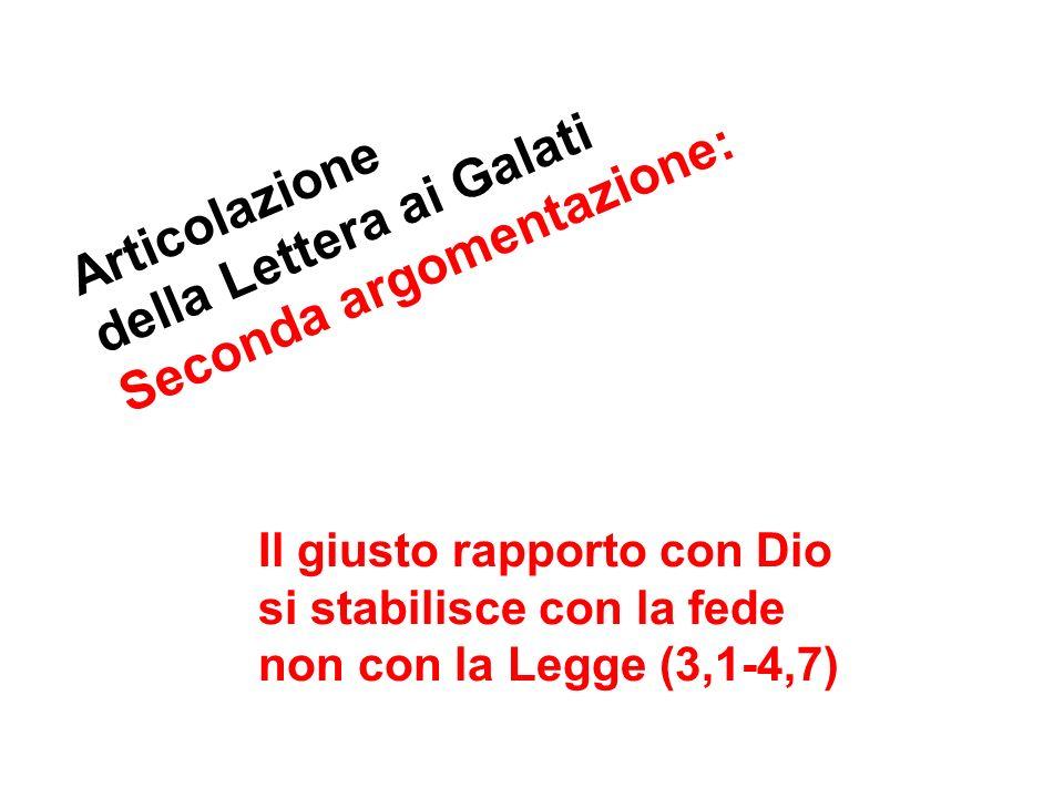 della Lettera ai Galati Articolazione Seconda argomentazione: