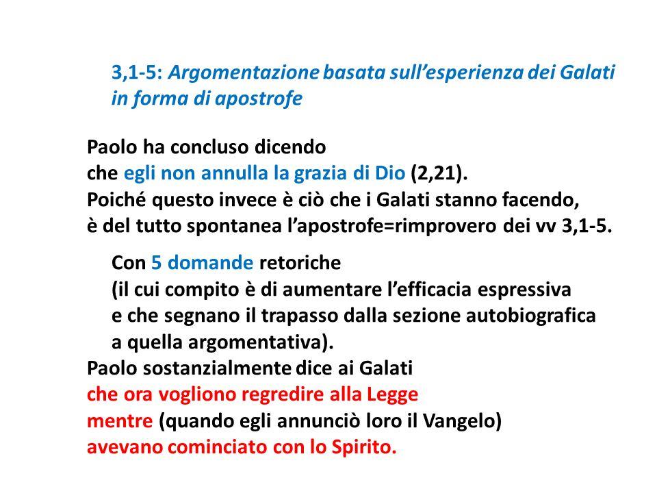 3,1-5: Argomentazione basata sull'esperienza dei Galati in forma di apostrofe Paolo ha concluso dicendo che egli non annulla la grazia di Dio (2,21).