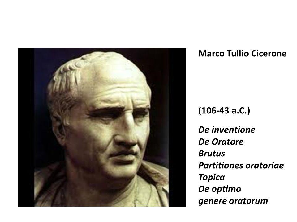 Marco Tullio Cicerone (106-43 a.C.) De inventione. De Oratore. Brutus. Partitiones oratoriae. Topica.