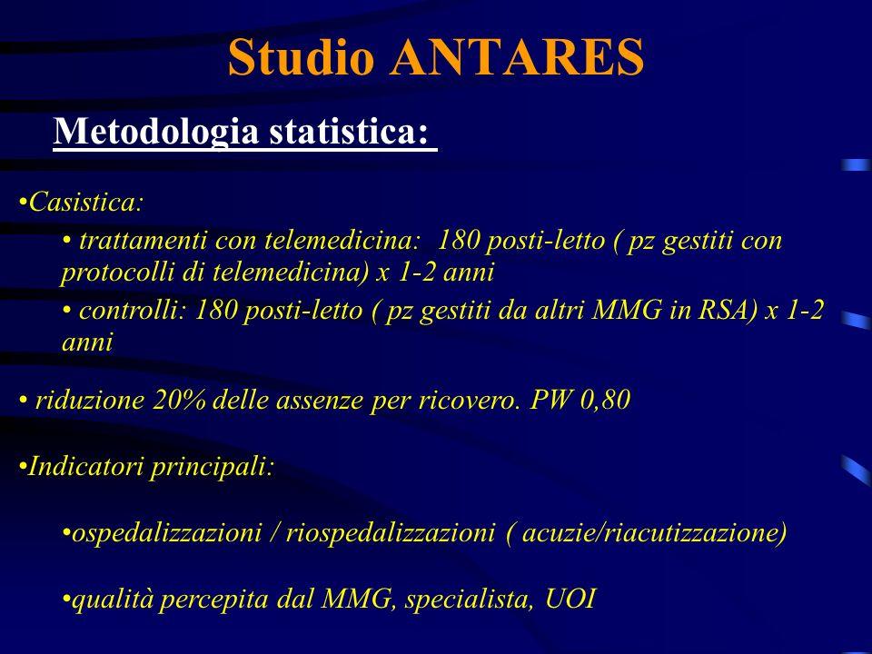 Studio ANTARES Metodologia statistica: Casistica: