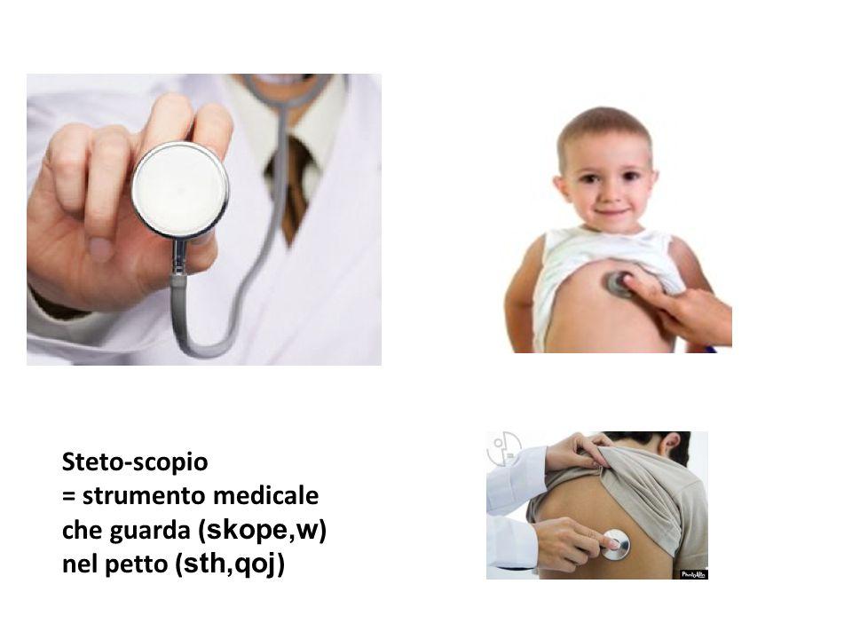 Steto-scopio = strumento medicale che guarda (skope,w) nel petto (sth,qoj)