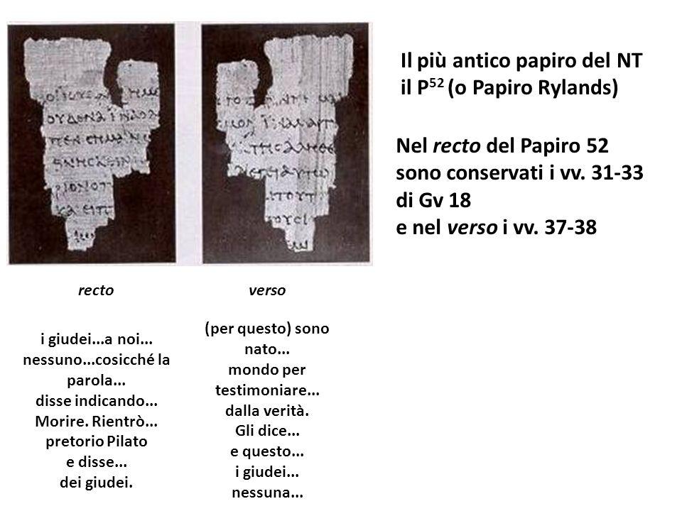 Il più antico papiro del NT il P52 (o Papiro Rylands)