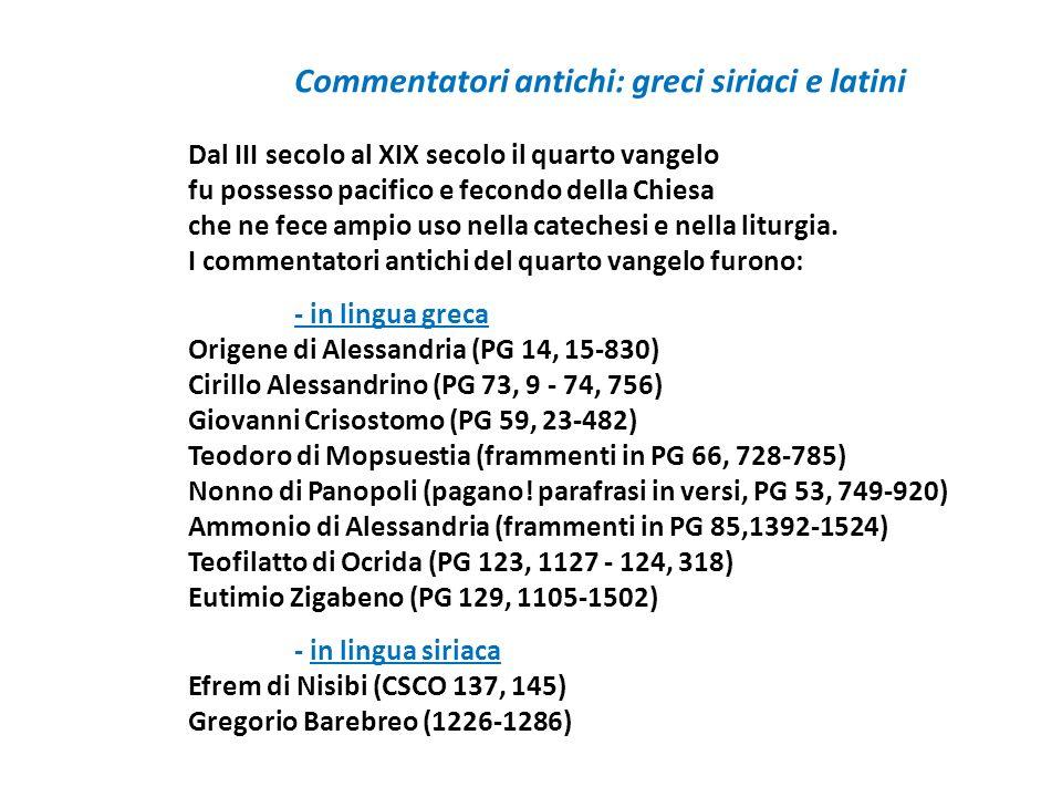 Commentatori antichi: greci siriaci e latini