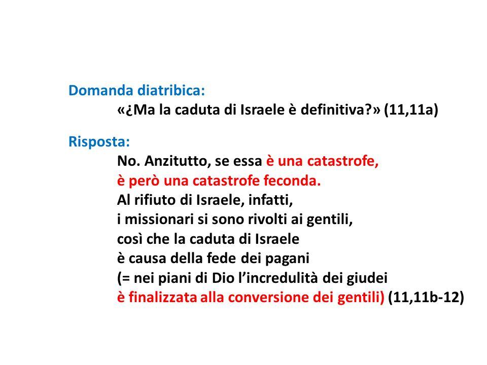 Domanda diatribica: «¿Ma la caduta di Israele è definitiva » (11,11a) Risposta: No. Anzitutto, se essa è una catastrofe,
