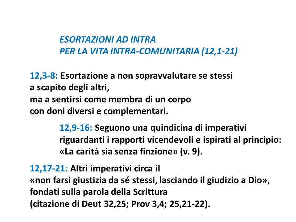 ESORTAZIONI AD INTRA PER LA VITA INTRA-COMUNITARIA (12,1-21) 12,3-8: Esortazione a non sopravvalutare se stessi.
