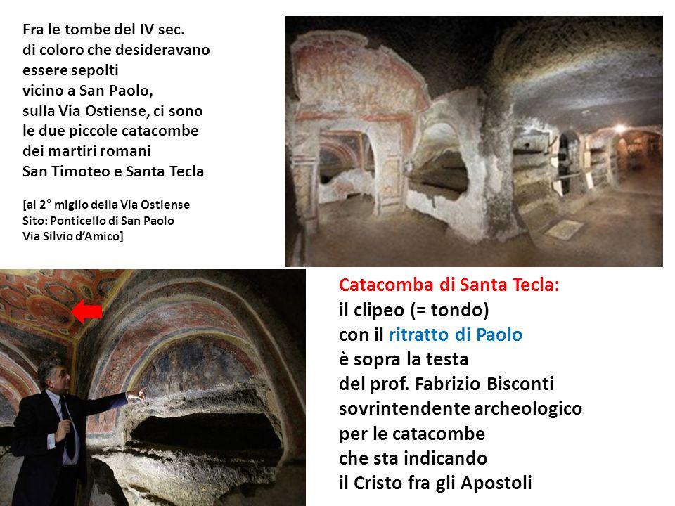Catacomba di Santa Tecla: il clipeo (= tondo) con il ritratto di Paolo