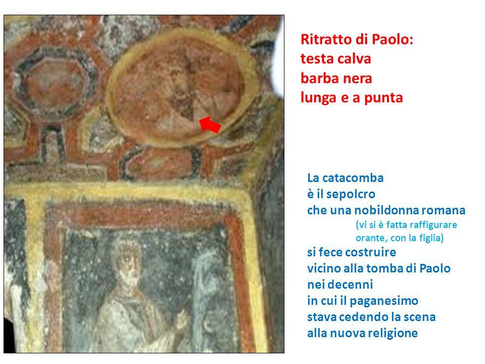 Ritratto di Paolo: testa calva barba nera lunga e a punta La catacomba