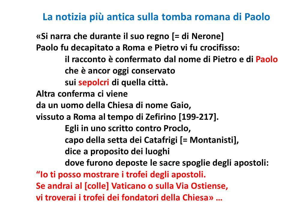 La notizia più antica sulla tomba romana di Paolo