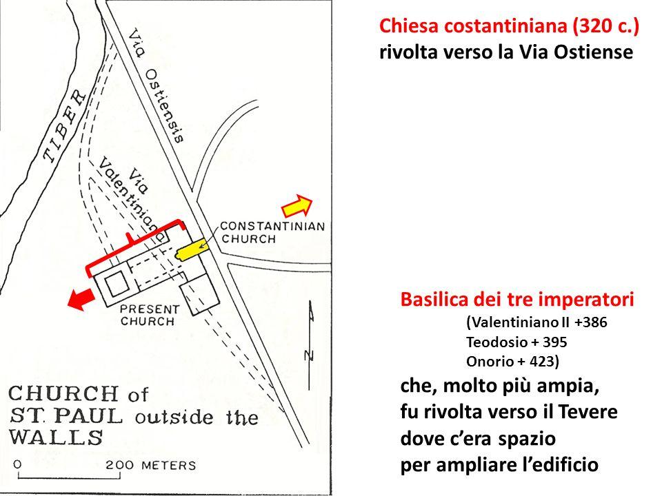 Chiesa costantiniana (320 c.) rivolta verso la Via Ostiense