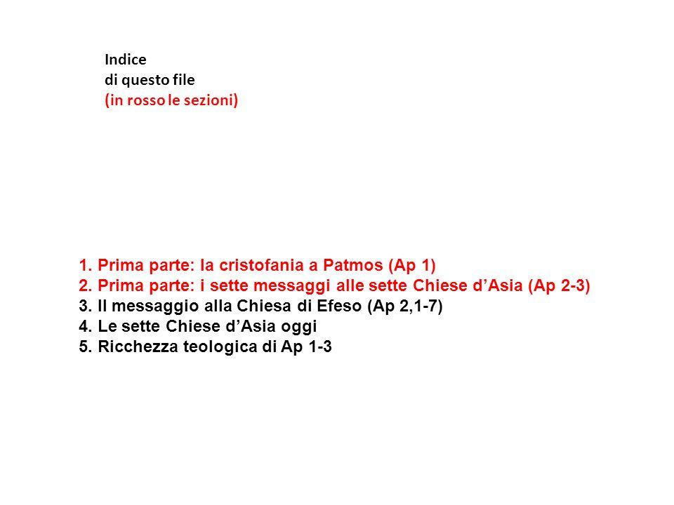 Indice di questo file. (in rosso le sezioni) 1. Prima parte: la cristofania a Patmos (Ap 1)