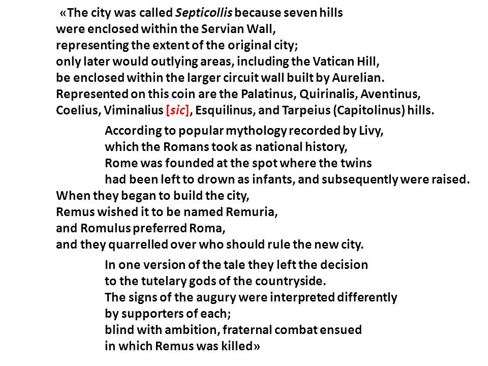«The city was called Septicollis because seven hills