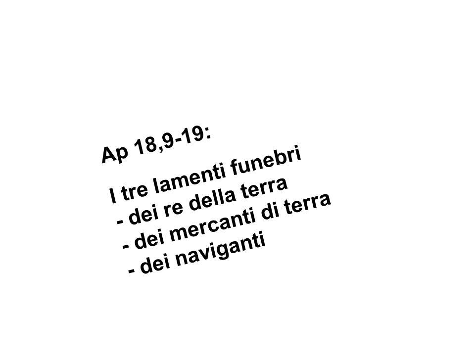 Ap 18,9-19: I tre lamenti funebri - dei re della terra - dei mercanti di terra - dei naviganti