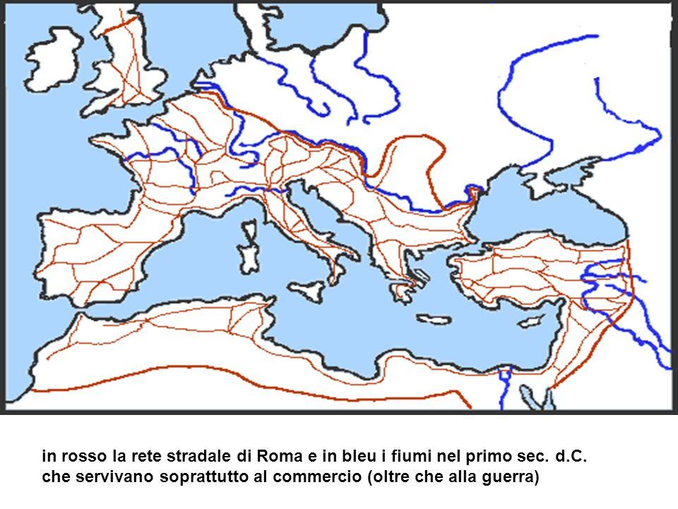 in rosso la rete stradale di Roma e in bleu i fiumi nel primo sec. d.C.