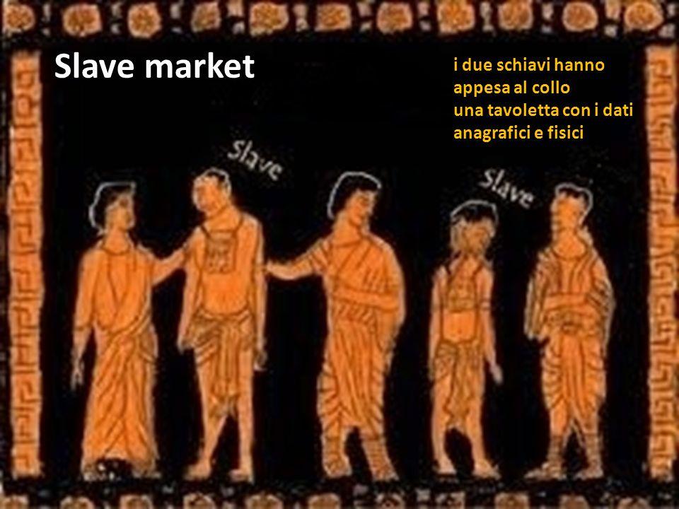 Slave market i due schiavi hanno appesa al collo