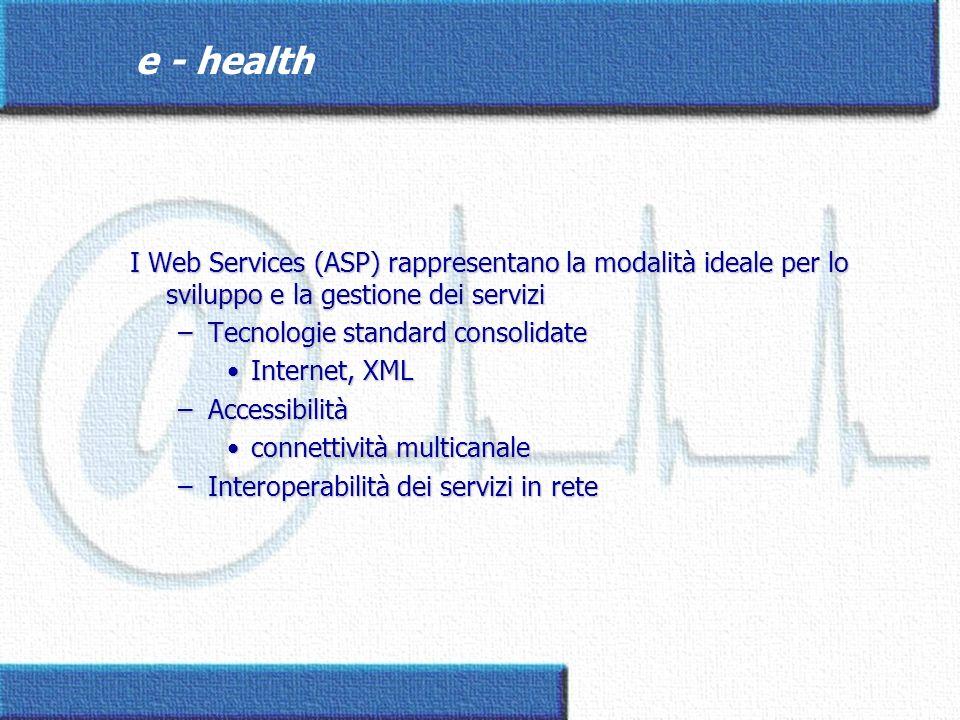 e - health I Web Services (ASP) rappresentano la modalità ideale per lo sviluppo e la gestione dei servizi.