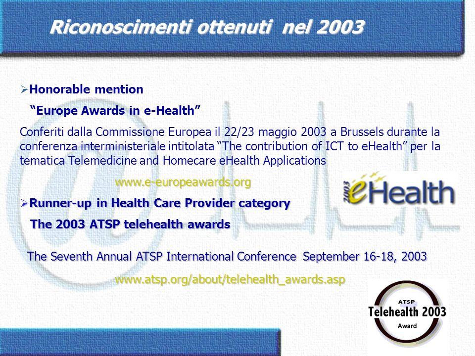 Riconoscimenti ottenuti nel 2003