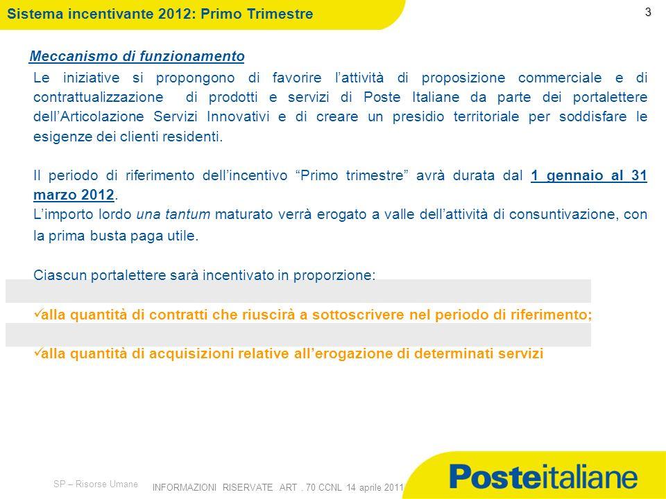 Sistema incentivante 2012: Primo Trimestre