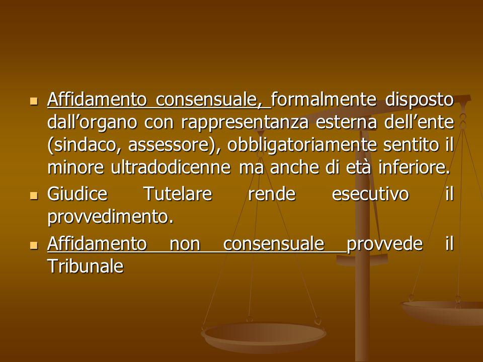 Affidamento consensuale, formalmente disposto dall'organo con rappresentanza esterna dell'ente (sindaco, assessore), obbligatoriamente sentito il minore ultradodicenne ma anche di età inferiore.