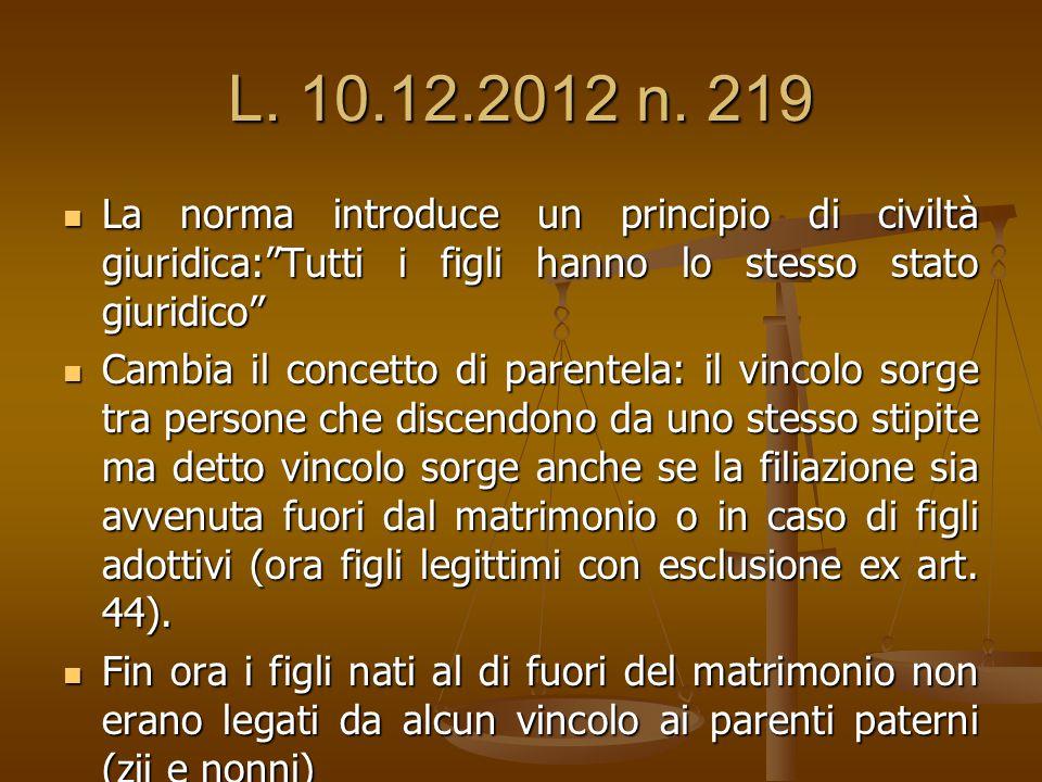L. 10.12.2012 n. 219 La norma introduce un principio di civiltà giuridica: Tutti i figli hanno lo stesso stato giuridico