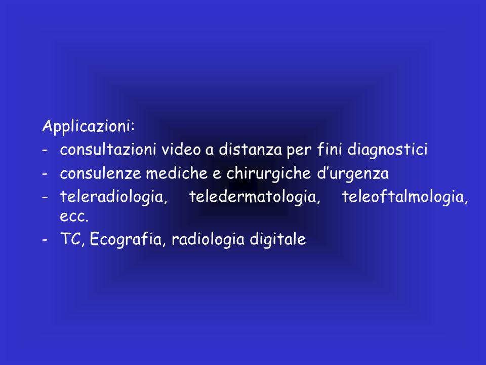 Applicazioni: consultazioni video a distanza per fini diagnostici. consulenze mediche e chirurgiche d'urgenza.