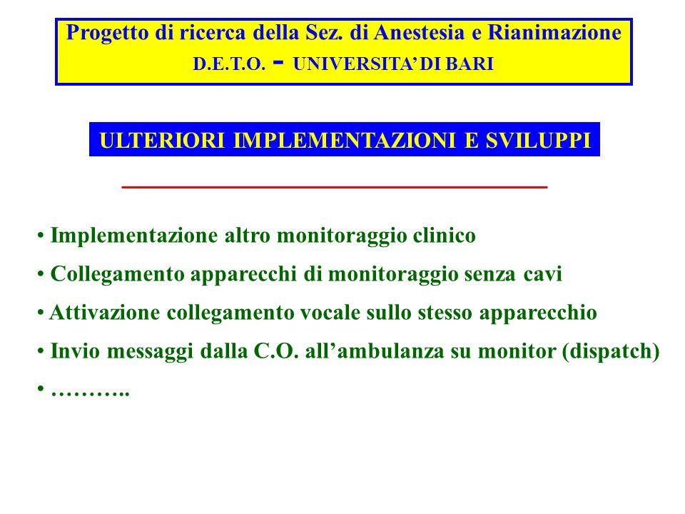 Progetto di ricerca della Sez. di Anestesia e Rianimazione