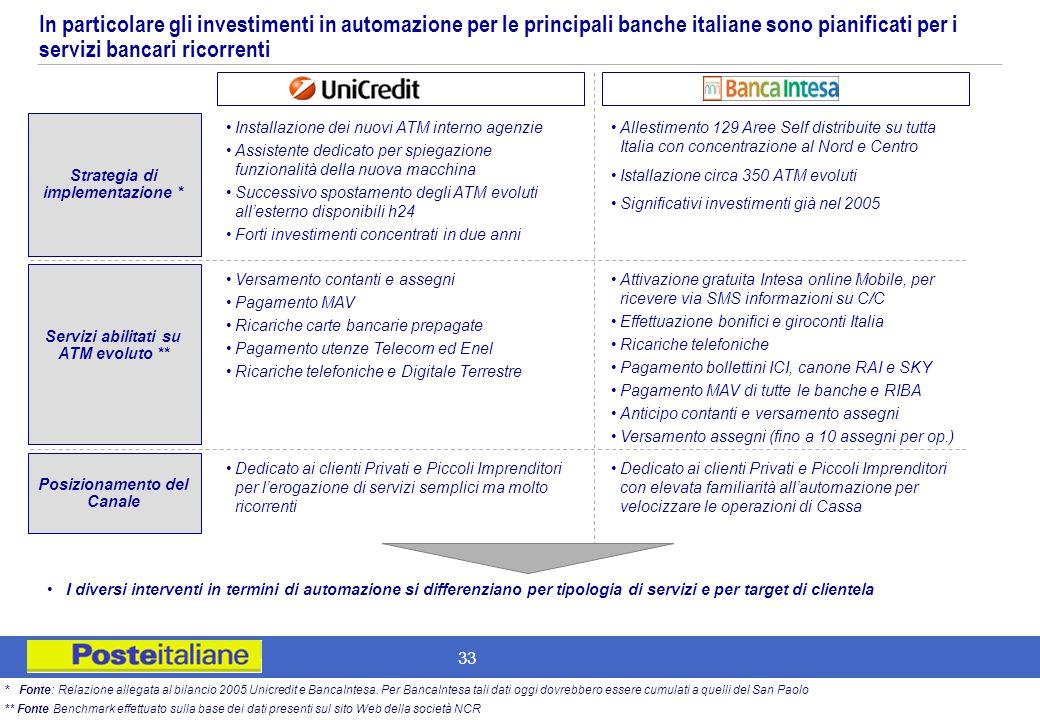 In particolare gli investimenti in automazione per le principali banche italiane sono pianificati per i servizi bancari ricorrenti