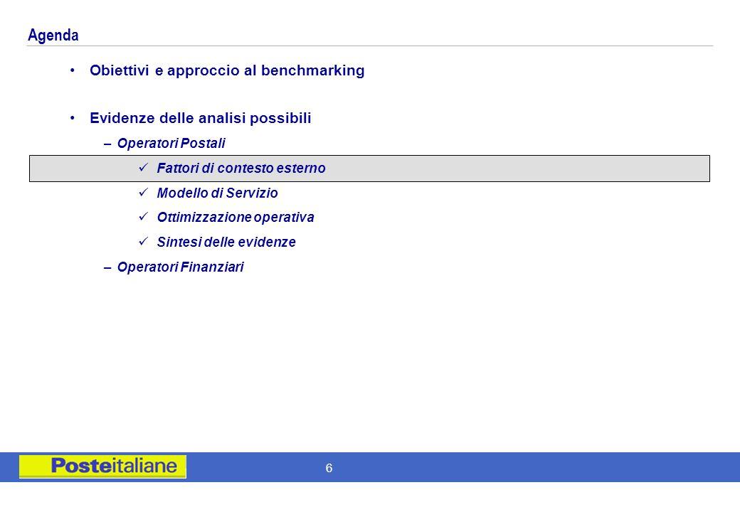 Agenda Obiettivi e approccio al benchmarking