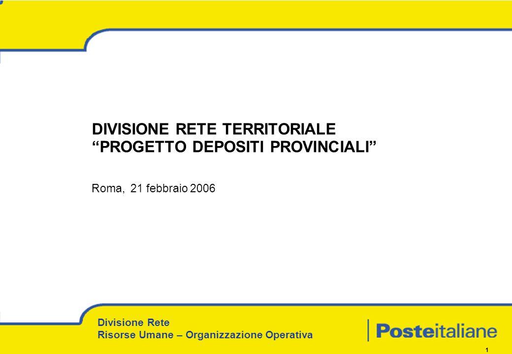 DIVISIONE RETE TERRITORIALE PROGETTO DEPOSITI PROVINCIALI Roma, 21 febbraio 2006