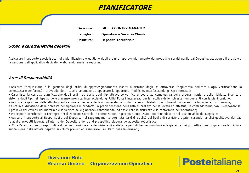 PIANIFICATORE Divisione: DRT – COUNTRY MANAGER