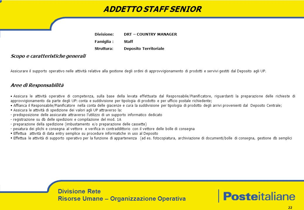 ADDETTO STAFF SENIOR Divisione: DRT – COUNTRY MANAGER