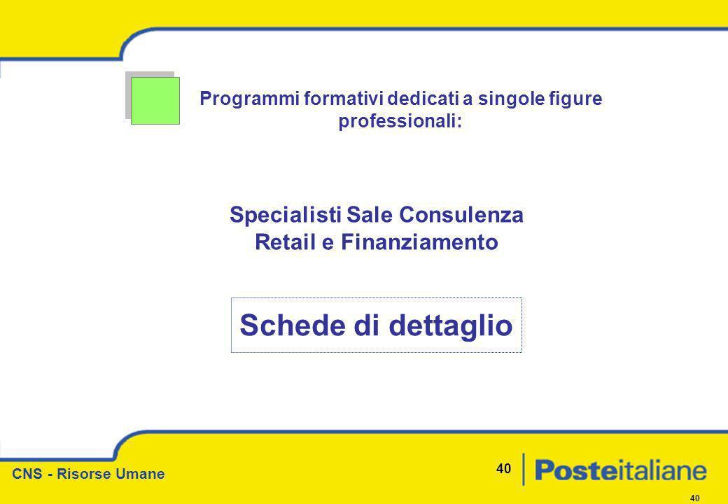 Schede di dettaglio Specialisti Sale Consulenza Retail e Finanziamento