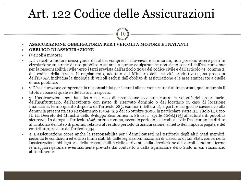 Art. 122 Codice delle Assicurazioni