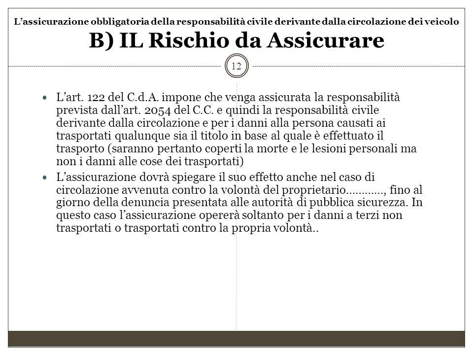 L'assicurazione obbligatoria della responsabilità civile derivante dalla circolazione dei veicolo B) IL Rischio da Assicurare