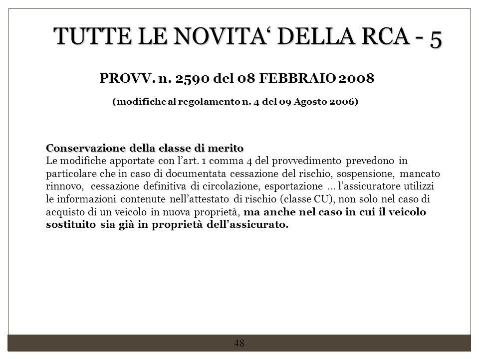(modifiche al regolamento n. 4 del 09 Agosto 2006)