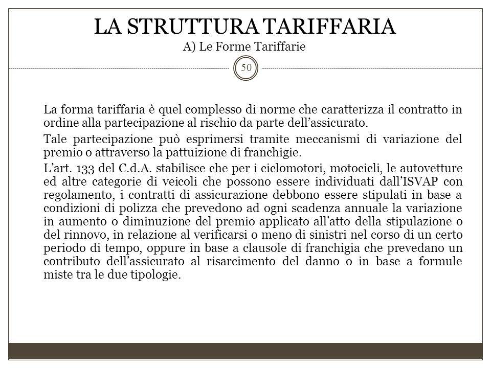 LA STRUTTURA TARIFFARIA A) Le Forme Tariffarie