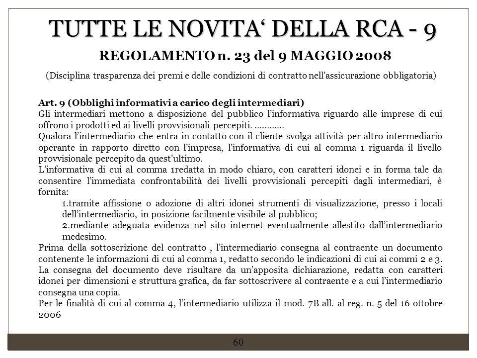 REGOLAMENTO n. 23 del 9 MAGGIO 2008