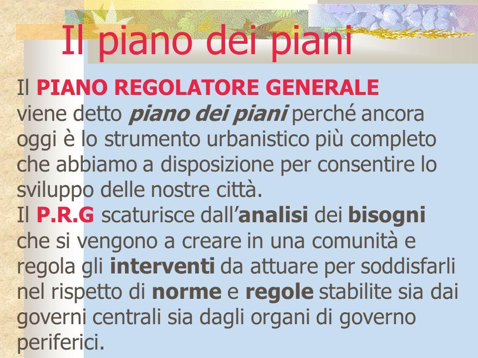Il piano dei piani Il PIANO REGOLATORE GENERALE
