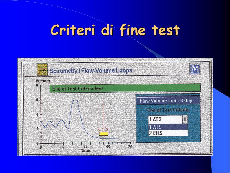 Criteri di fine test